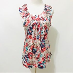 Womens Top L Blouse Sleeveless Fitted Floral Print